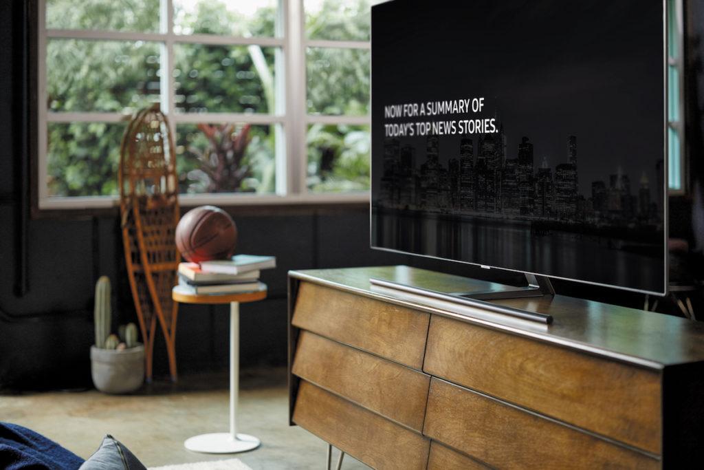 News headlines on the Samsung QLED TVs