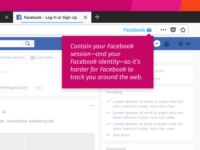 Facebook Container Firefox extension