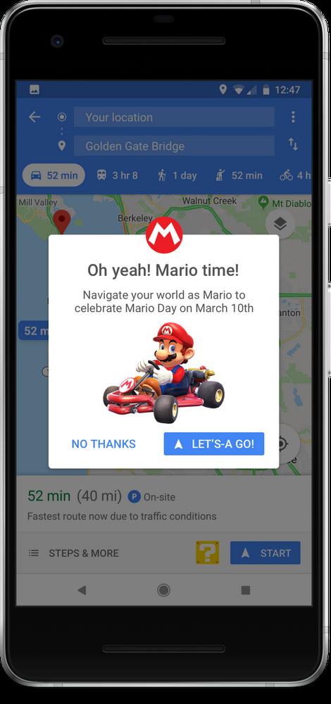 Mario Kart on Google Maps