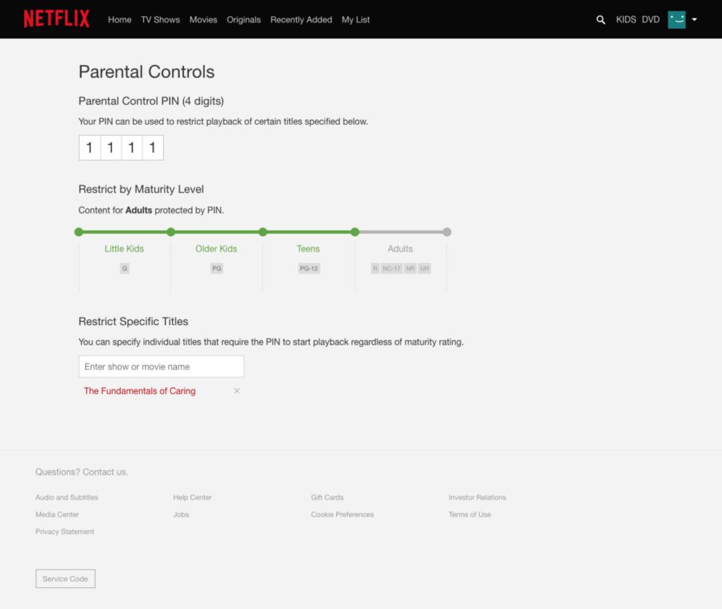 Netflix Parental Controls Pin