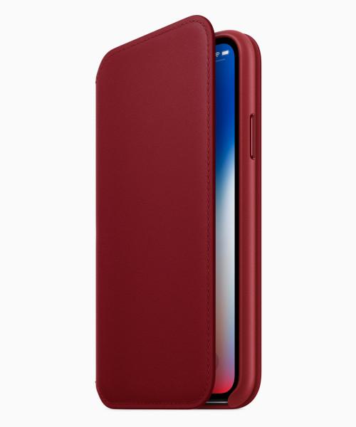 iPhone X Red folio Case