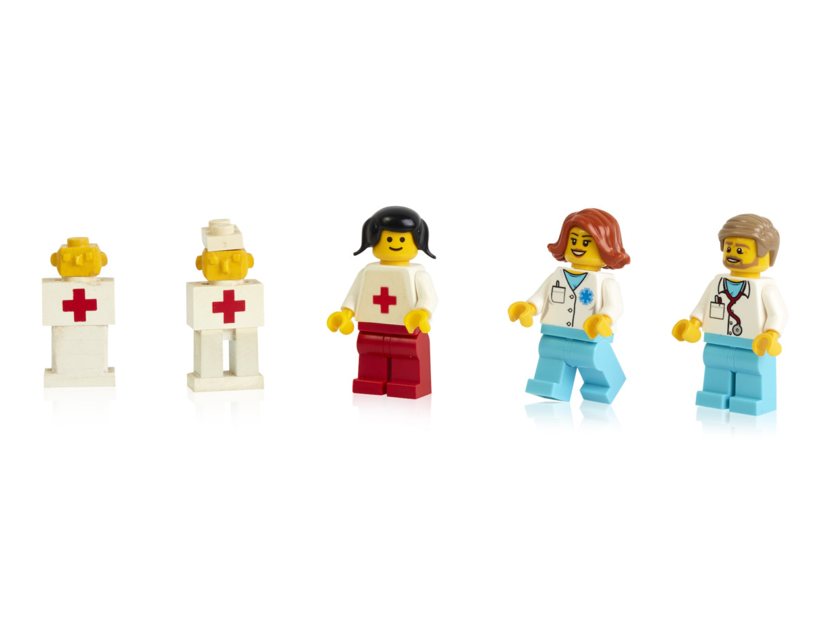 Early prototypes, first and more recent minifigure doctors