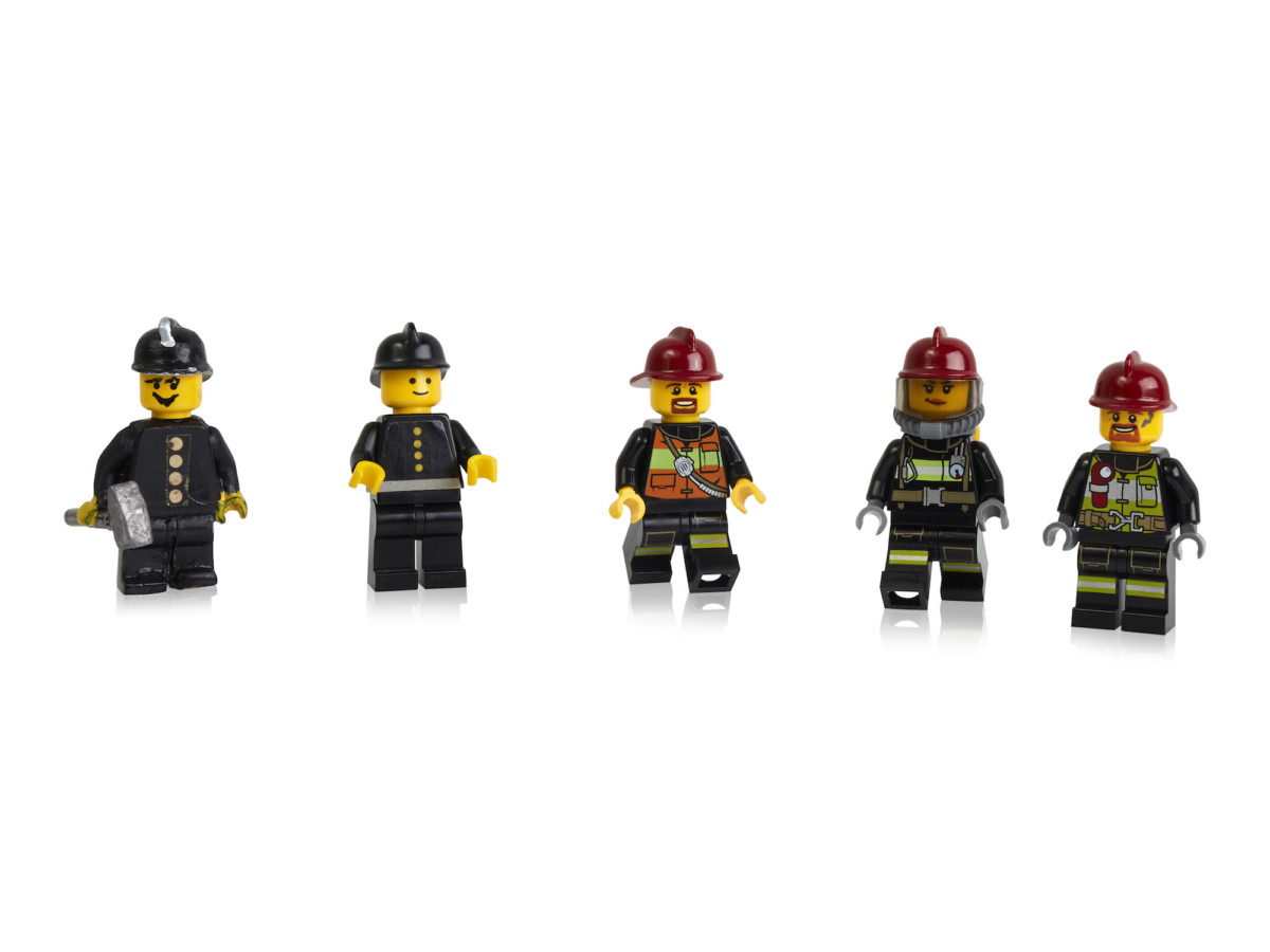 Early prototypes, first and more recent minifigure firefighters