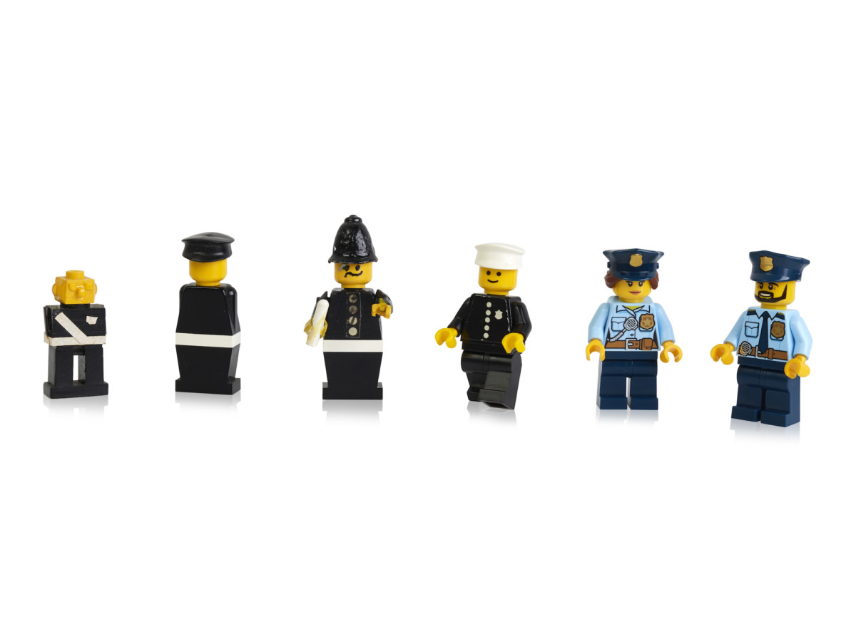Early prototypes, first and more recent police minifigures