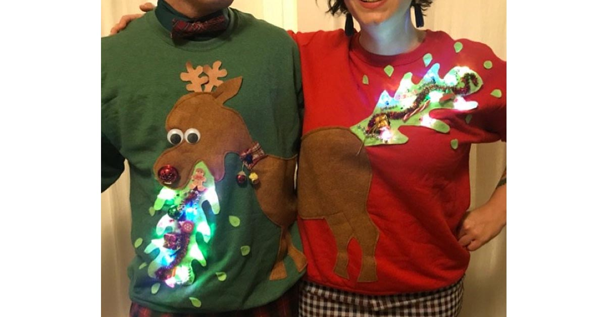 #10 Vomiting Reindeer Holiday Couple Sweater