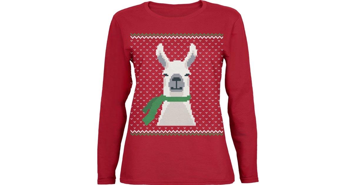 #11 Big Llama Holiday Ladies' Sweater