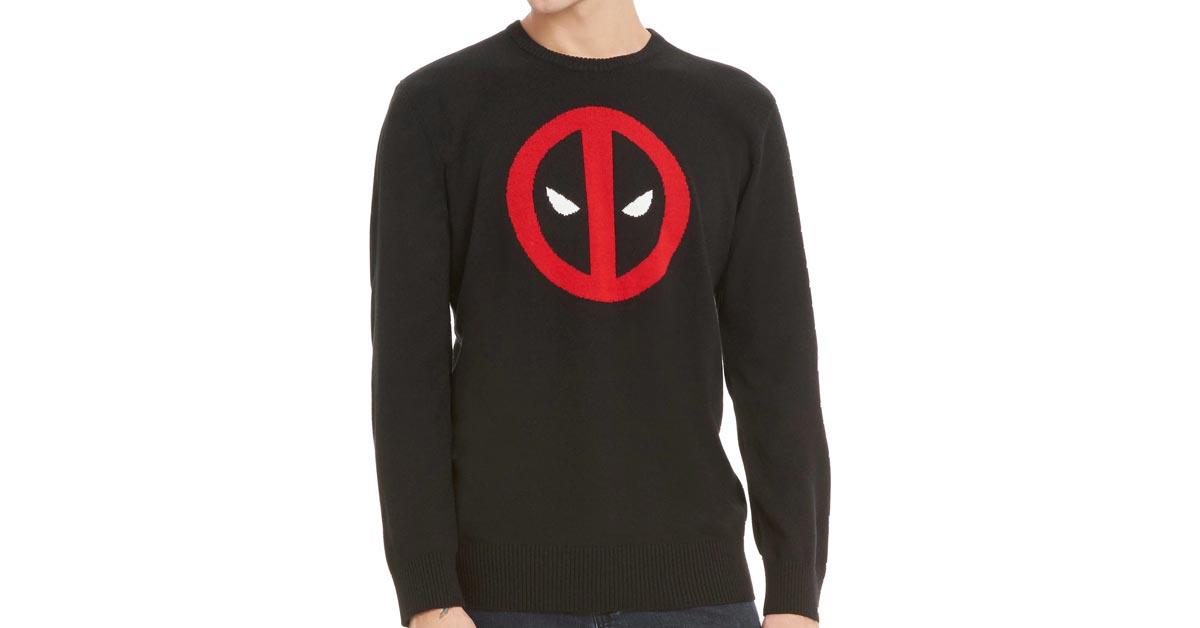 #8 Marvel Deadpool Intarsia Pullover Sweater