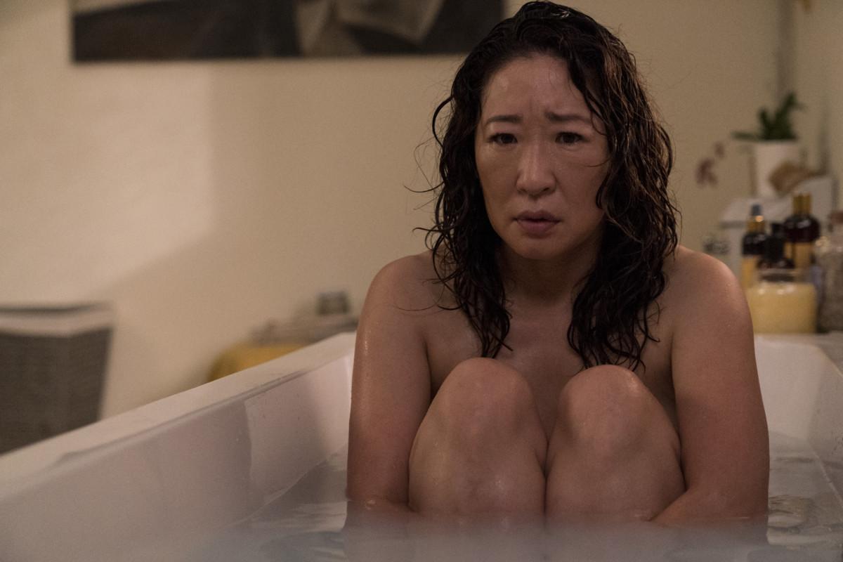 Killing Eve: Sandra Oh's Eve huddled up in bathtub