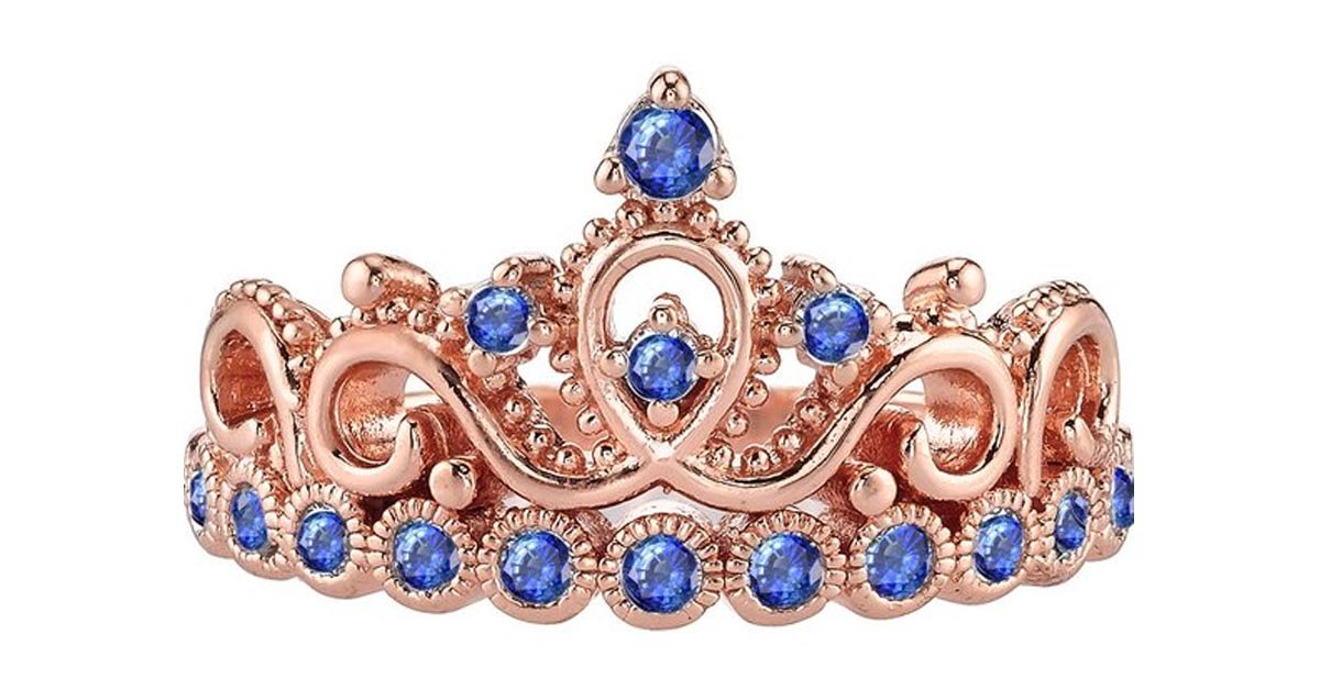 Rose Gold Gemstone Princess Crown Ring