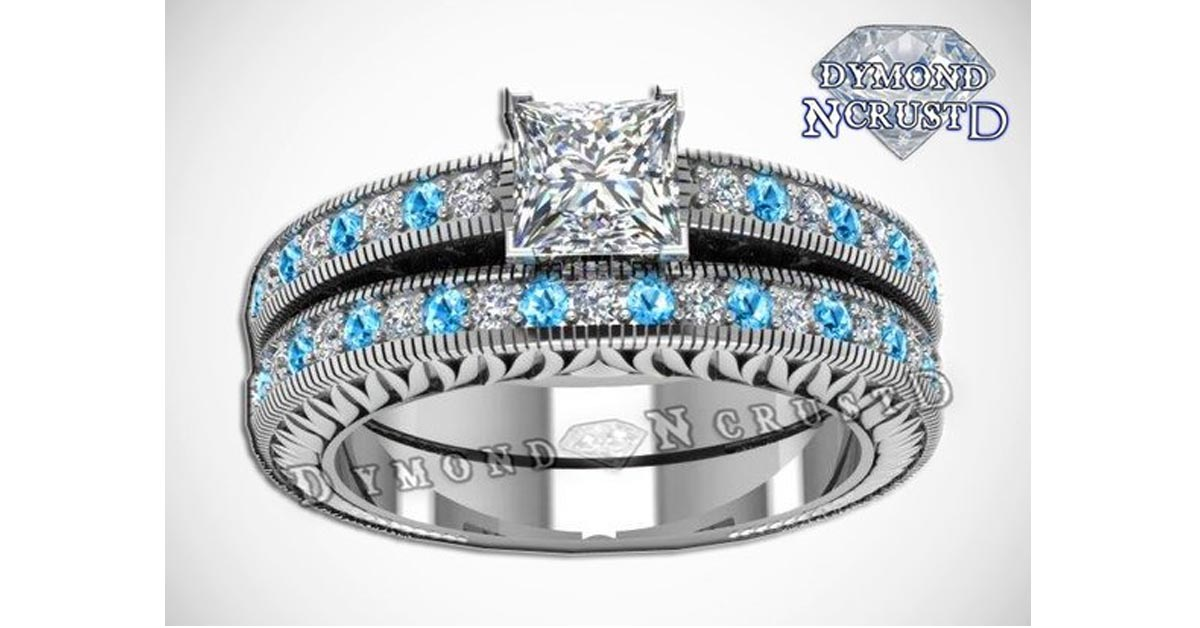 Cinderella Swarovski Diamond and Aquamarine Ring Set