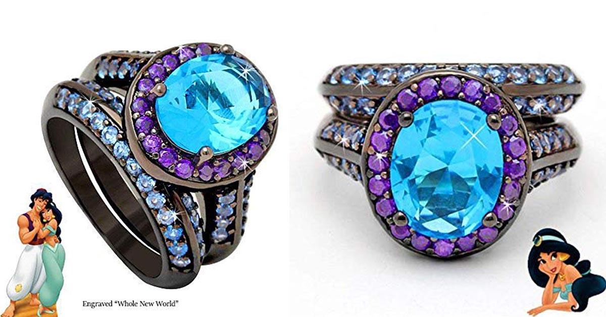 Jasmine and Aladdin Blue Topaz Ring Set