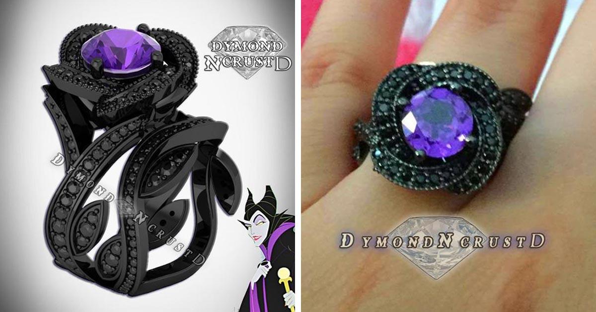 Maleficent Amethyst and Black Diamond Ring Set