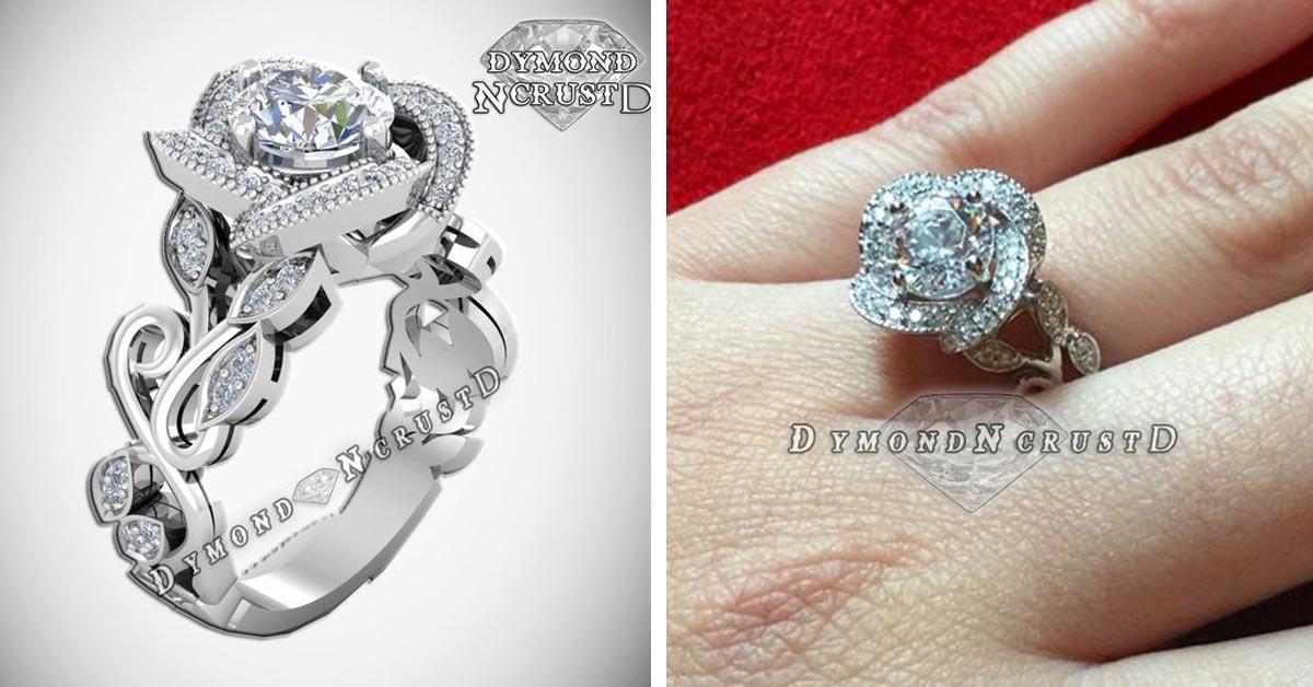 Belle Sterling Silver/White Gold Rose Flower Ring