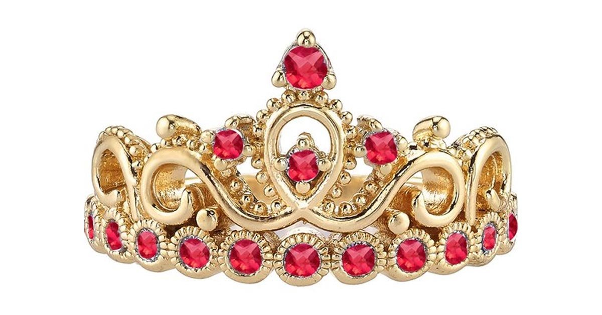 Yellow Gold Gemstone Princess Crown Ring
