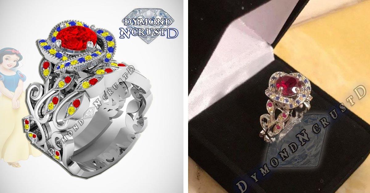 Snow White Rose Flower Ring Set