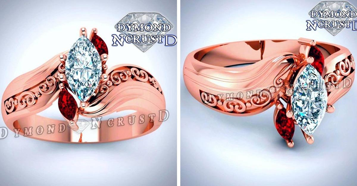 Pocahontas Diamond and Ruby Bypass Ring