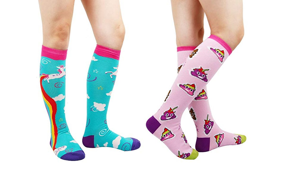 2-Pack Rainbow-Colored Poop and Unicorn Socks