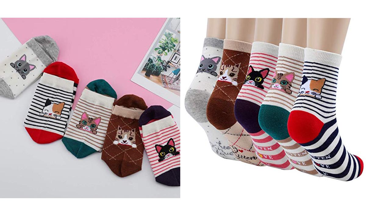 5-Pack Cute Cat Socks