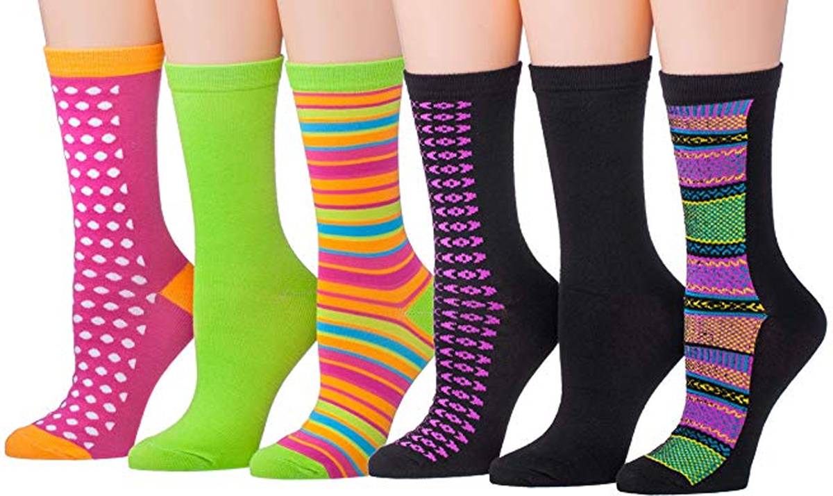 6-Pack Colorful Funky Patterned Socks