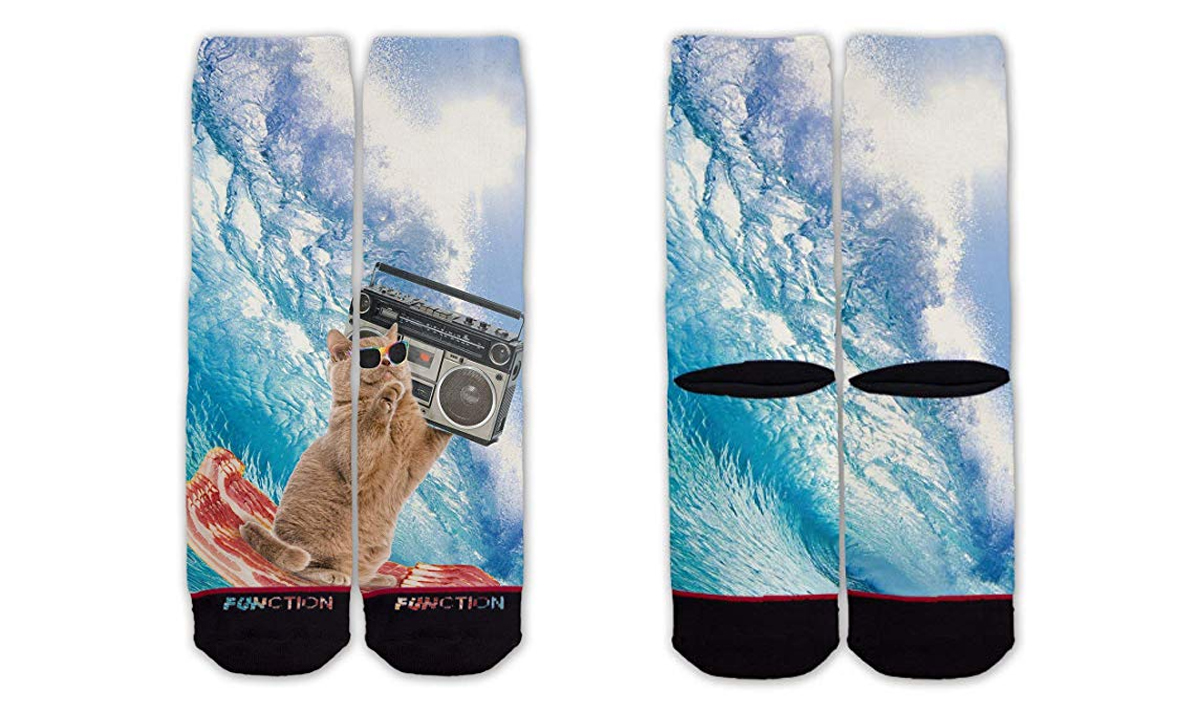 Bacon Surfing Cat Socks