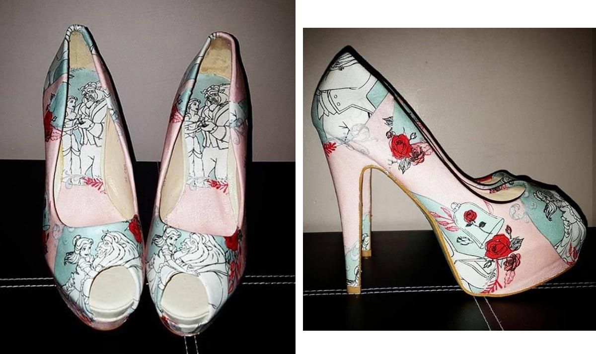 Beauty and the Beast Pale Pink Peep Toe Heels