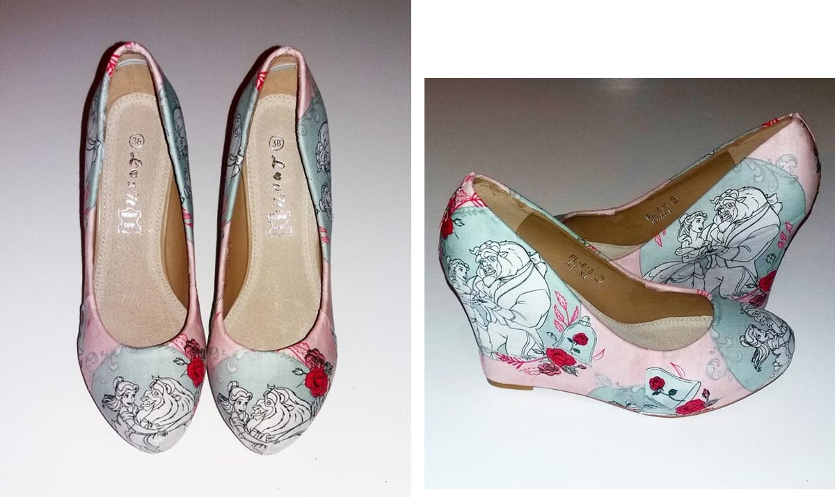 Beauty and the Beast Pale Pink Wedges