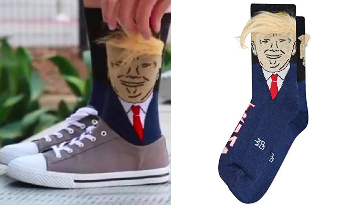 Donald Trump Socks With Fake Hair Comb Over