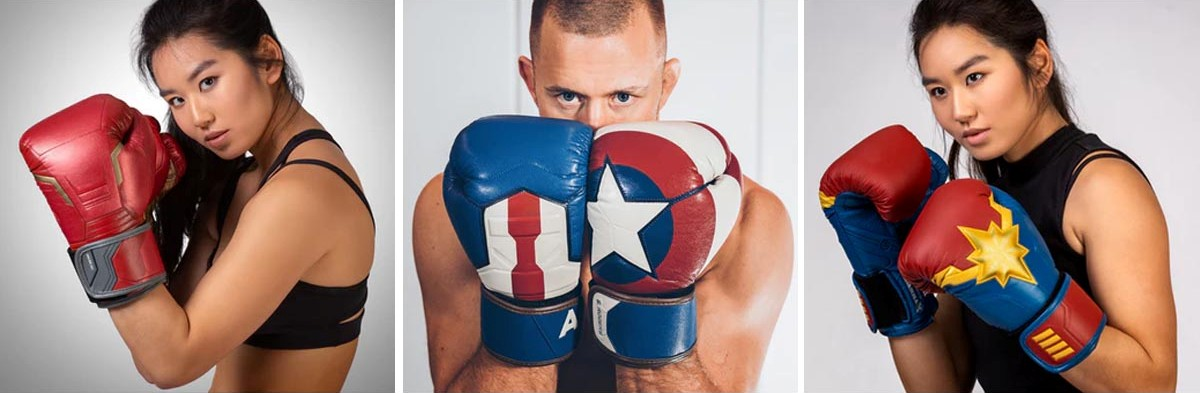 Iron Man, Captain America, and Captain Marvel boxing gloves