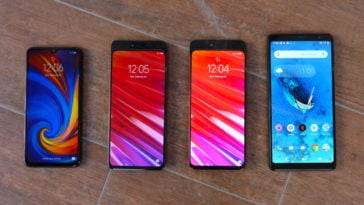 Lenovo's 2019 Phone lineup. Pictured at the far right, is the Lenovo Tab V7