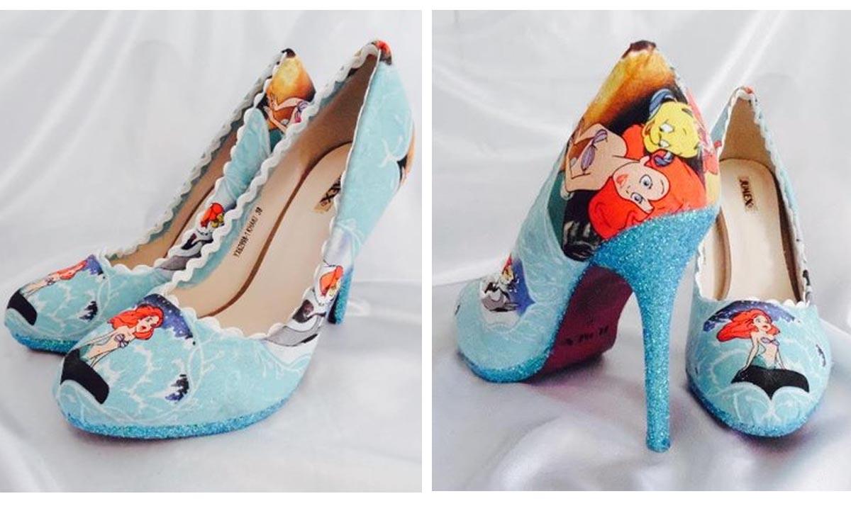 Little Mermaid Turquoise Fabric High Heels