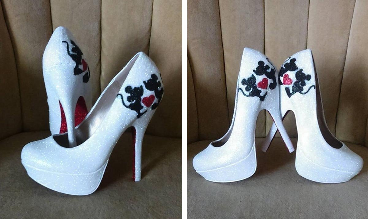 Mickey and Minnie Mouse White Glitter High Heels