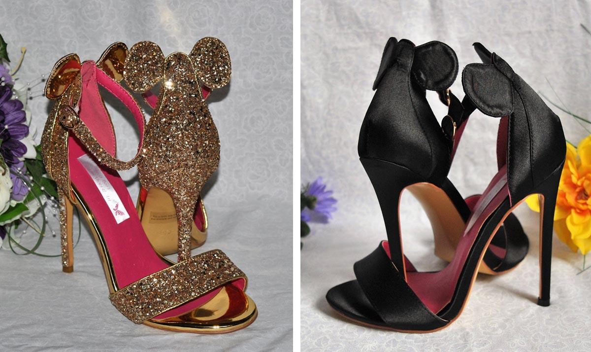 Mickey Mouse Ears Glitter Satin High Heels