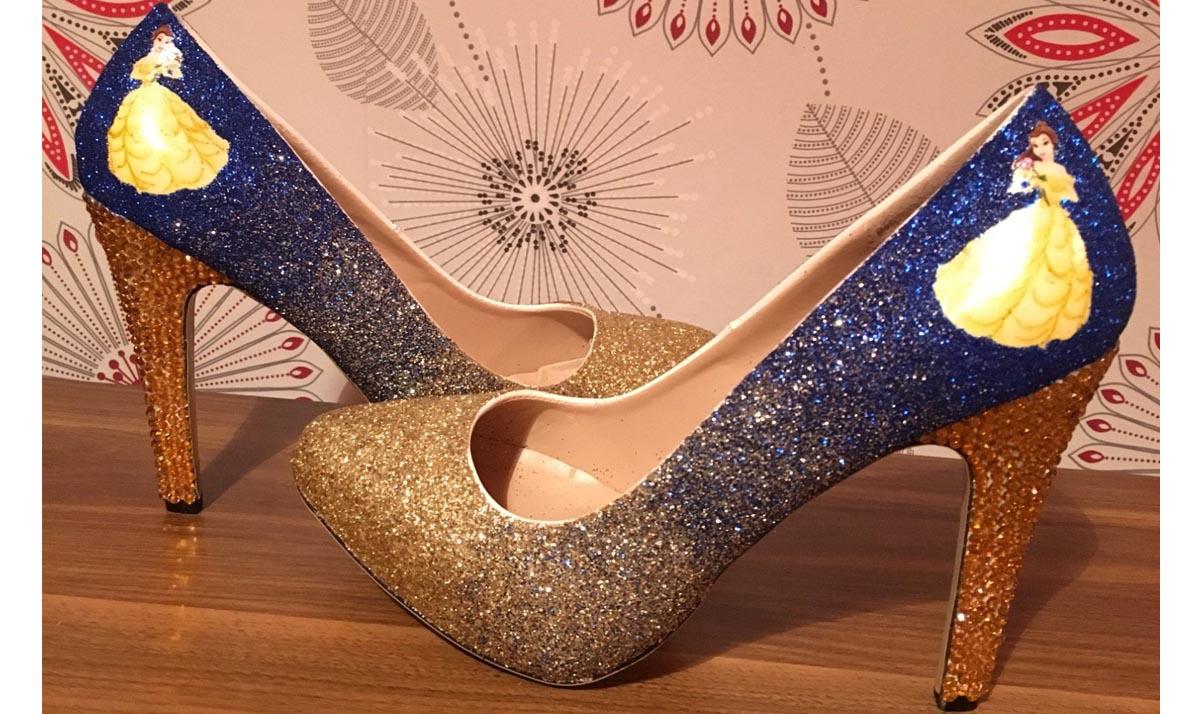 Princess Belle Glitter High Heels