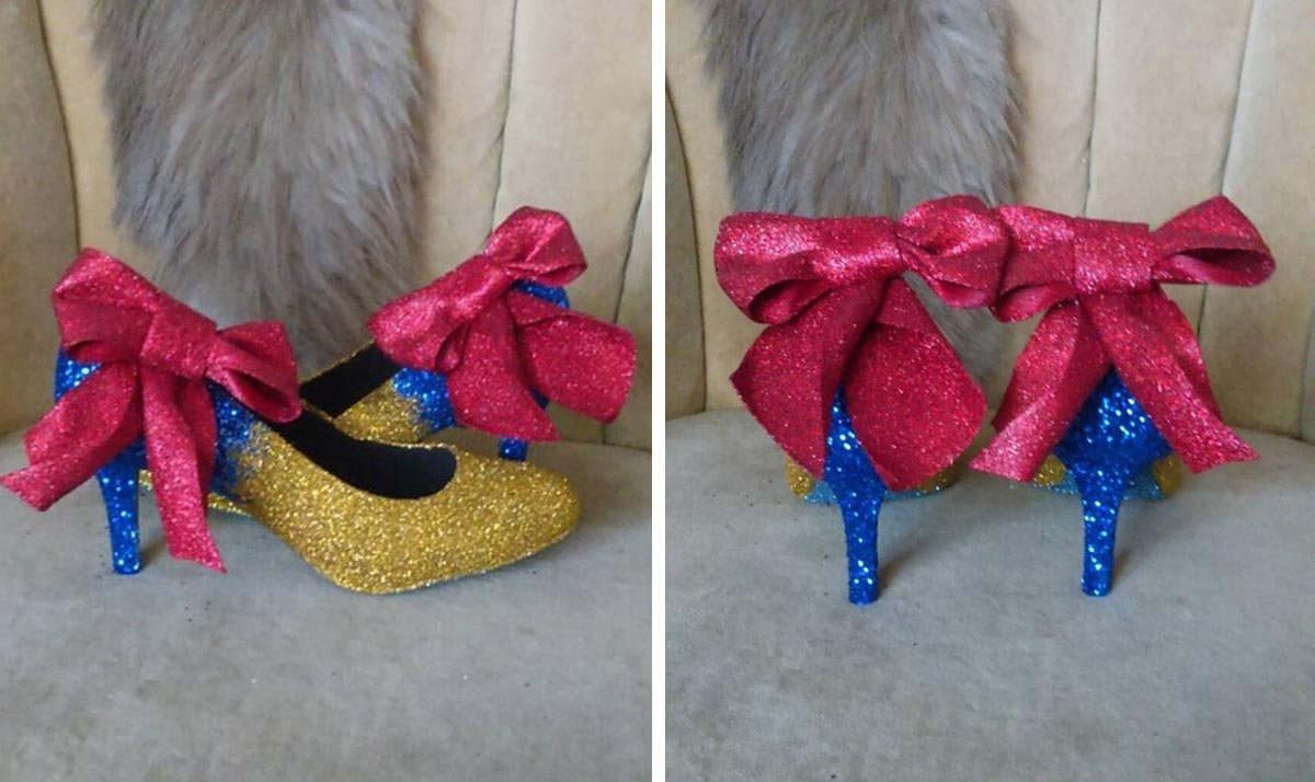 Snow White Glitter and Bow High Heels