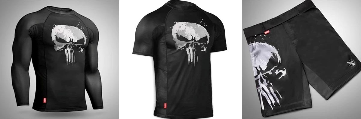 The Punisher-inspired rash guards and shorts