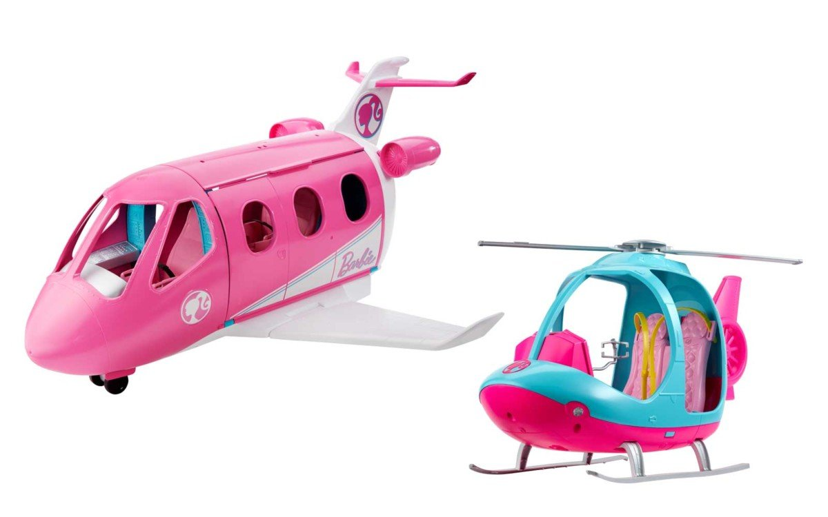 Barbie travel helicopter and Dream Plane