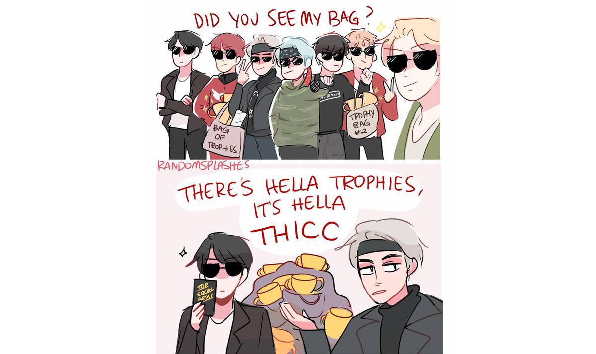 BTS boys subtly flaunting their trophies
