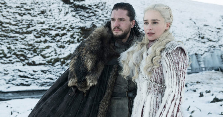 Kit Harington as Jon Snow and Emilia Clarke as Daenerys on Game of Thrones