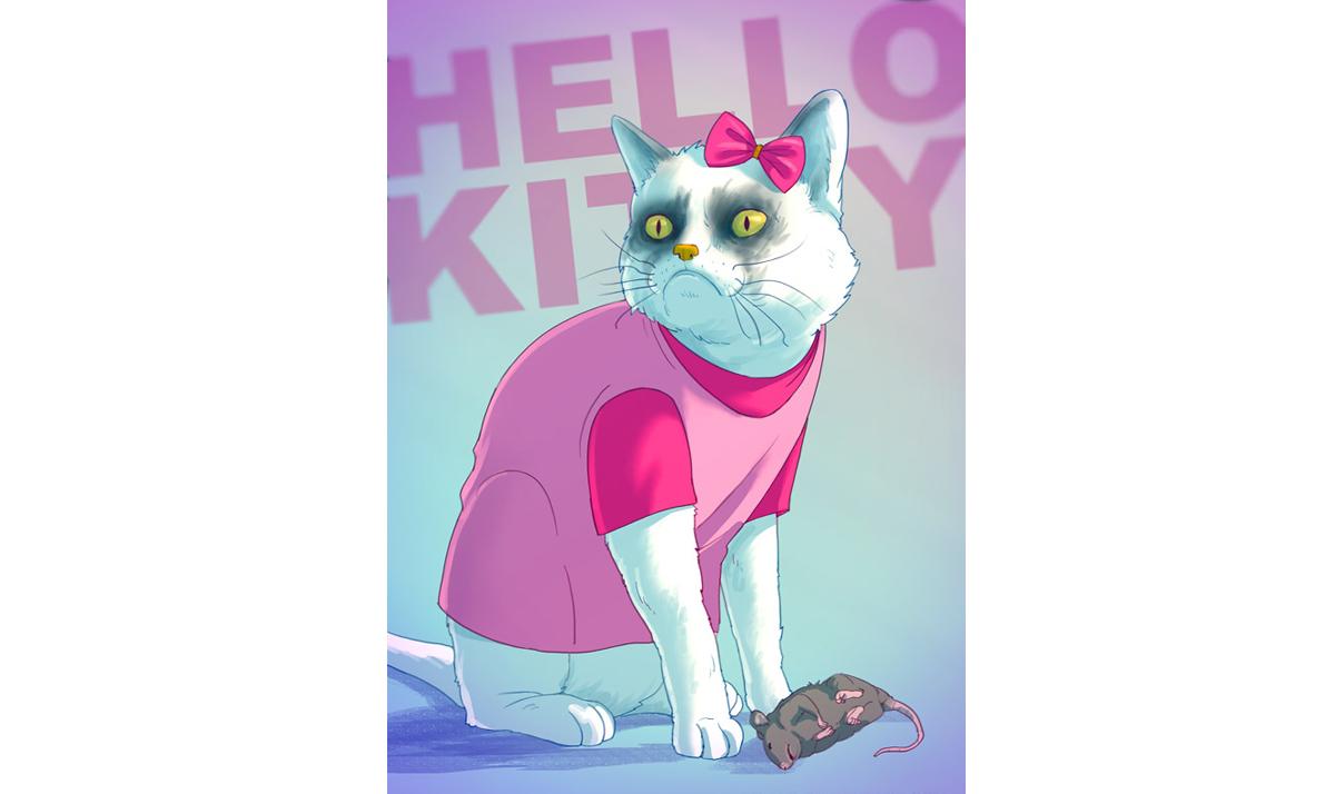 Hello Kitty as a grumpy cat