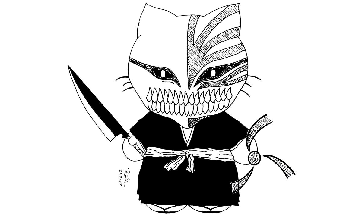 Hello Kitty as Hollow Ichigo from Bleach