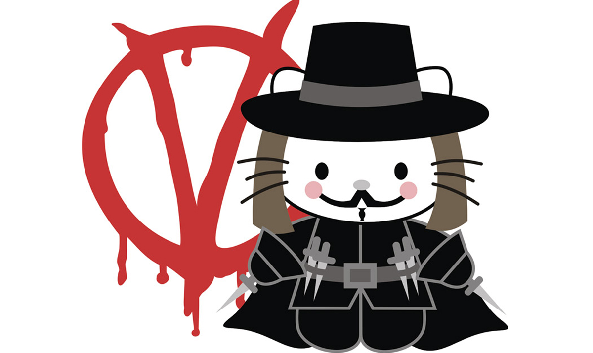 Hello Kitty as V from V for Vendetta