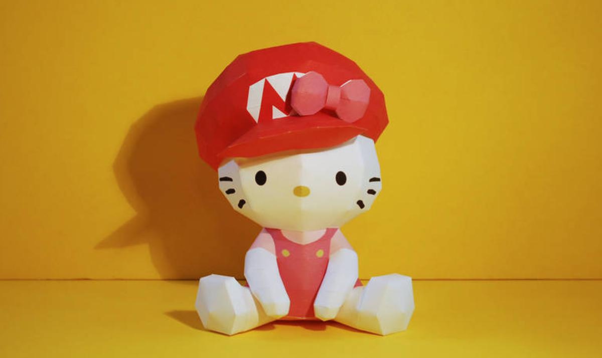 Hello Kitty x Mario papercraft