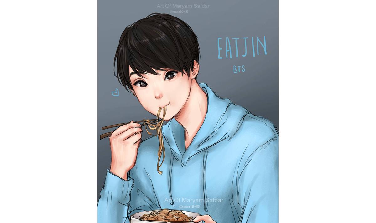 Jin eating noodles
