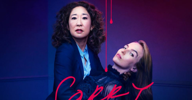 Sandra Oh as Eve and Jodie Marie Comer as Villanelle on Killing Eve