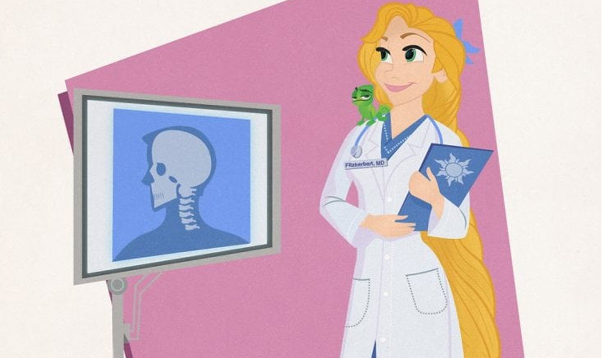 rapunzel as a neurologist - Disney Princesses as modern day career women