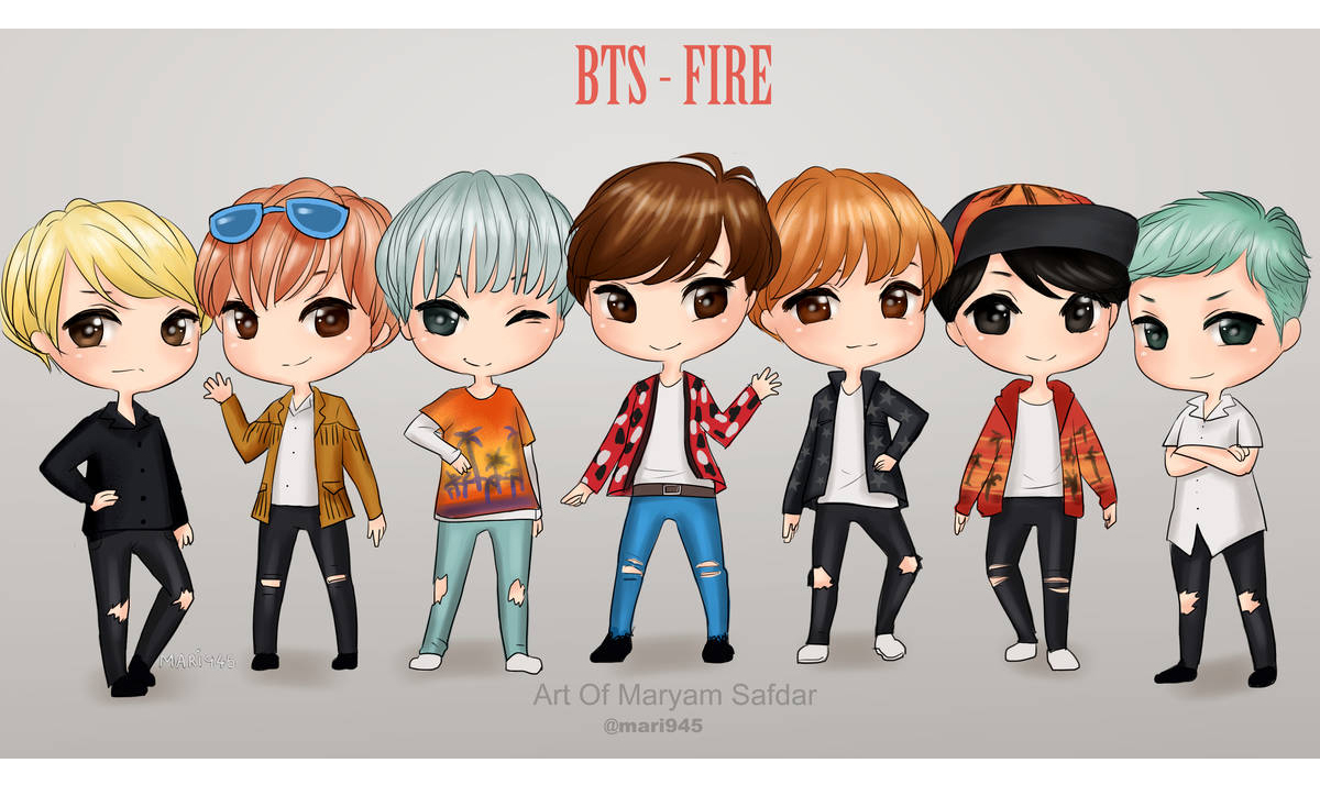 the bts boys drawn in chibi style - The BTS boys like you've never seen them before