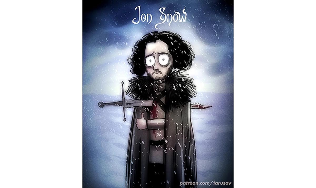 burtonesque jon snow - Game of Thrones characters gone wild
