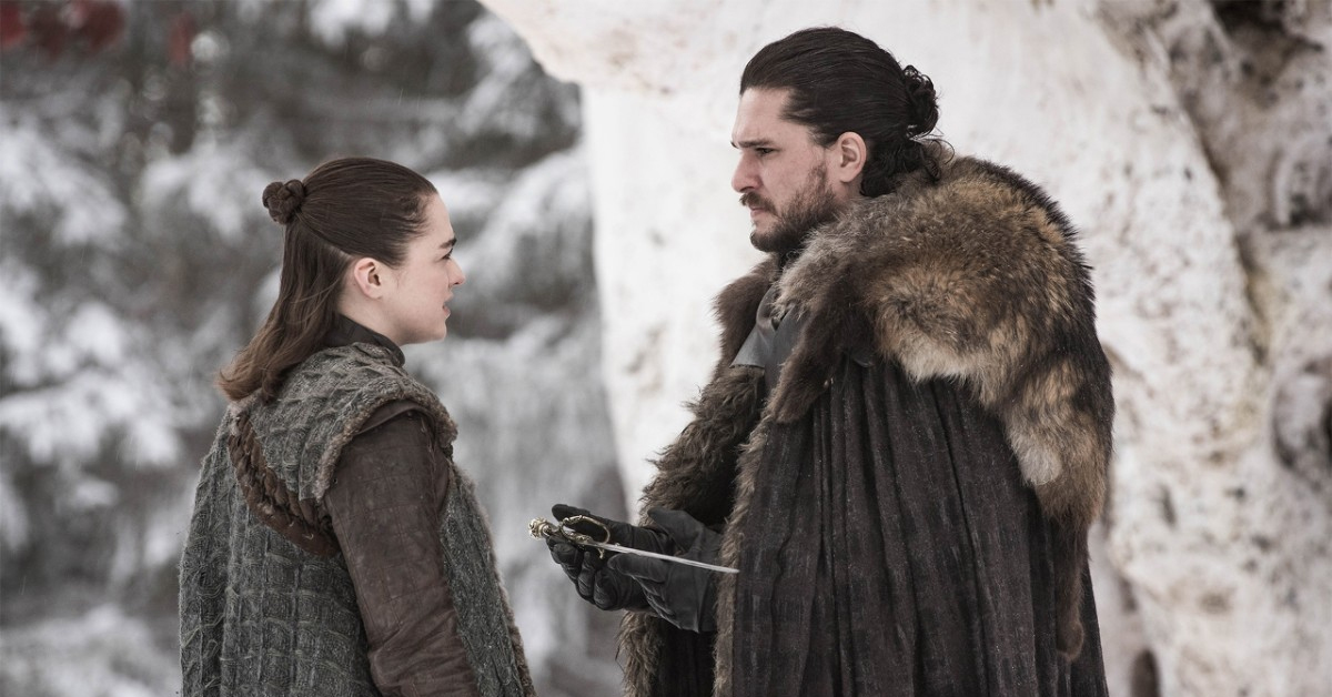 Maisie Williams as Arya and Kit Harington as Jon in Game of Thrones Season 8