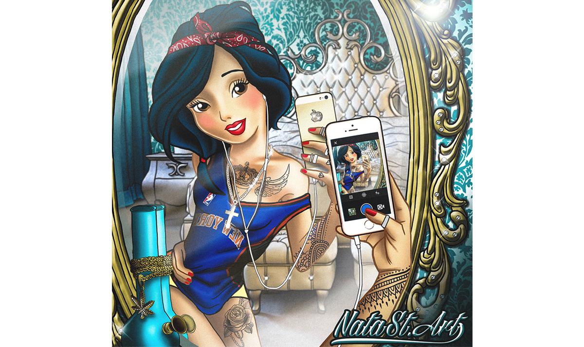snow white taking a mirror selfie - Disney Princesses gone wild in modern times