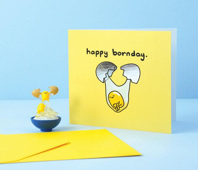 Jolly Awesome x Gudetama Greeting Card: Born Day